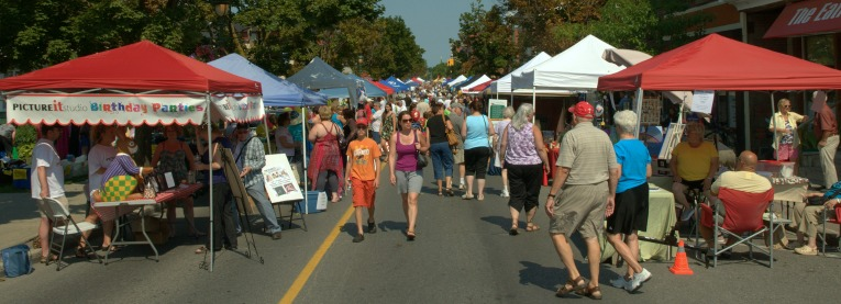 Busy street at the Bridge Street Bazaar in downtown Carleton Place