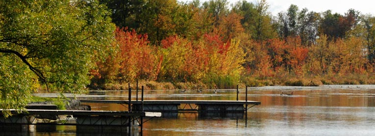 Fall scene with water and boat docks